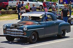 1949 Dodge drag car (Thumpr455) Tags: auto show blue car race vintage nikon automobile flag union may southcarolina dodge mopar coupe 1949 d800 2014 bfgoodrich worldcars steelinmotion unioncountydragway