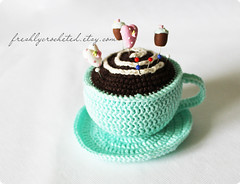 mint cup (Olilchen) Tags: cup coffee rose heart tea crochet pins latte amigurumi cushion doily saucer