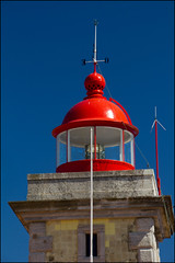 Lighthouse (Hetty S.) Tags: travel blue red vacation lighthouse holiday building portugal contrast lagos algarve canoneos