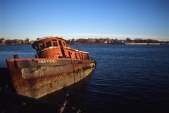 Philip T. Feeney (Alexander Rabb) Tags: nyc newyorkcity ny newyork abandoned film nikon kodak nikonf100 shipwreck tugboat statenisland nikkor e6 portrichmond kodakelitechrome100 arthurkill philiptfeeney nikkor28mmf28afd