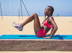 Summer Fitness w/ Aminat (BJermaine) Tags: california summer beach girl beautiful photography losangeles sand photoshoot santamonica smiles workout fitness musclebeach bjermaine brandonjermaine
