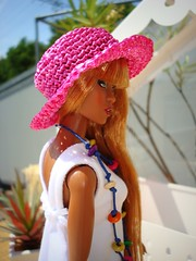 Adele in Habilisdolls Creations (Deejay Bafaroy) Tags: pink blue summer portrait orange white green hat yellow closeup toys outdoors necklace glamour doll dress sommer go sunny portrt hut gelb to makeda grn blau adele sonnig fr weiss puppe draussen kette integrity kleid fashionroyalty habilisdolls habilisdollscreations