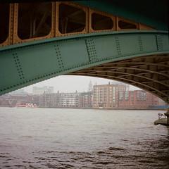 Southwark bridge (obliquepanic) Tags: 120film film hasselblad mediumformat london bridges thames kodak portra