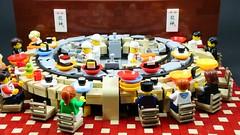 Itadakimasu! (CeciΙie) Tags: lego moc sushi conveyorbelt restuarant bar japan japanese food chef