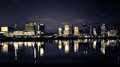 Oslo by night (mono) (Bhalalhaika) Tags: oslo norway oslofjord opera house barcode cityscape skyscrapers