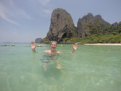 Phranang Beach - Paul in sea (Paul_Jean) Tags: andamansea snorkelling aonang krabi thailand