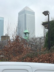 One Canada Square and Grieg House Clocktower (Loz Flowers) Tags: london isleofdogs onecanadasquare