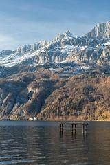 Mountains and lake (Thomas Mülchi) Tags: lakewalenstadt cantonofstgallen switzerland 2017 churfirstenmountainrange mountains snow bluesky eveninglight platform lake birds walenstadt sanktgallen ch