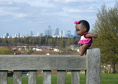Lost Doll & Docklands, Blythe Hill Fields, Honor Oak Park, London (MJ Reilly) Tags: honoroakpark croftonpark blythehillfields blythehill brockley london southeastlondon southlondon nikon d7200 nikond7200 doll bench lostdoll lost docklands londonskyline skyline