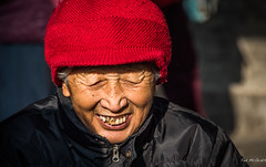 2016 - China - Beijing - Senior - 2 of 6 (Ted's photos - Returns 23 Jun) Tags: 2016 beijing china cropped nikon nikond750 nikonfx tedmcgrath tedsphotos vignetting portrait face smile smiling teeth denim red redhat jacket zipper templeofheaven beijingchina bokeh nose hat togue knitted knittedhat lady oldlady female senior