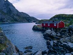 House on the rocks (JaZ99wro) Tags: e100g e6 f0325 fiord mamiya645protl norway norwegia opticfilm120 tetenal3bathkit analog exif4film film house water