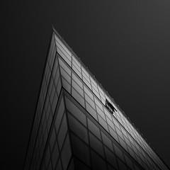 breach (gkphotography.lt) Tags: architecture abstract angle monochrome light window open dusseldorf germany blackandwhite building skancheli city diagonal edge silverefexpro fuji fujixt1 forms geometry grid lines sky lookup landscape minimalistic minimalism minimal modern pov office perspective square shapes tilted urban windows