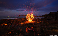 0S1A5466 (Steve Daggar) Tags: catherinehillbay sunset seascape landscape nswcentralcoast gosford wharf jetty firetwirling steelwooltwirling firespinning