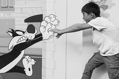 王牌对王牌 the duel (nzfisher) Tags: boy boyhood children child childhood family cartoon 85mm canon monochrome mono blackandwhite