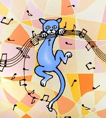 naughty cat getting into the music.... (jani.na) Tags: naughty cat cats music musical notes lines note blue yellow orange salmon pink black silk scarf handpainted painted fun cartoon katze blau musik noten gelb rosa schwarz seide schal seidenschal janina jani nanavati