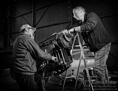 Engine Maintenance - Mono (Chris Frear) Tags: nikon cls sb800 ocf workshop hangar aviation work mono blackwhite portrait portraiture uk lincolnshire airfield aircraft d90