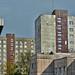 Środula - typical socialist blocks of flats - after rain