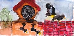 von oben konnte man das Gräberfeld sehen (raumoberbayern) Tags: station bahnhof sketchbook skizzenbuch tram munich bus strasenbahn pencil bleistift ballpoint paper papier robbbilder stadt city landschaft landscape spring frühling summer sommer trip germany münchen graveyard friedhof grabsteine tombstone