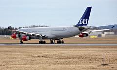 SAS LN-RKP,  OSL ENGM Gardermoen (Inger Bjørndal Foss) Tags: lnrkp sas scandinavian airbus a340 osl engm gardermoen
