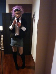 Pink Hair (Julia Cool) Tags: pantyhose tights hosiery stockings nylon transgender tgirl heels julia cool collant calze strumpfhosen sissy trap transvestite amateur transgenderpantyhose juliacool highheels trav transgenre trans transex transexuelle crossdresser pink hair denim skirt boots