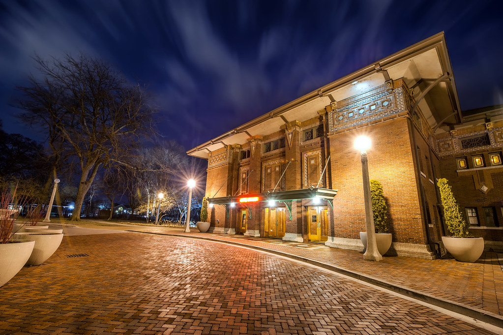 A long exposure take early Friday morning at Cafe Brauer in the Lincoln Park Zoo.