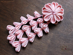 Pink Blossom Kanzashi Set (thea superstarr) Tags: pink kanzashi hairflowers theastarr handmade hanakanzashi seattleartist hairaccessory vintagekimono fabricflowers
