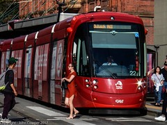 Sydney Light Rail - Ladies in red (john cowper) Tags: lrv2122 capitolsquare sydneylightrail passengers haystreet haymarket georgestreet caf urbos3 transportfornsw transdev sydneypublictransport sydney newsouthwales