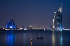 Burj & Co (LadyBoscolo) Tags: dubai burjalarab architecture building sea beach night skyline blue cityscape view landscape outdoors uae emirates glamour vip 5stars water reflection sunset bluehour lights