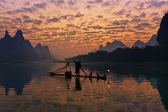 Hold Back The River (Anna Kwa) Tags: sunrise liriver sky clouds dawn cormorantfishing cormorantfisherman cormorants reflections bambooraft karstmountains yangshuo guilin guangxi china annakwa nikon d750 afszoomnikko1424mmf28ged my always river flow holdback byyourside lost seeing heart soul throughmylens lonely water wander travel world desinty life