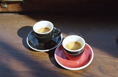 Coffee time (Stephanie Overton) Tags: paris france travel 35mm olympus om10 50mm film kodak iso400 europe capital city coffee drink red black espresso