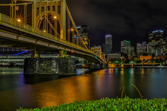 Pittsburgh (Bill Varney) Tags: bridge reflection night nightscape cityscape skyline water outdoor pittsburgh billvarney