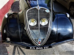 France:  rare 1936 Peugeot 302 parked on roadside in Cahors (ronmcbride66) Tags: france cahors peugeot vintage vintagecar classiccar cahorsautoretro headlamps radiatorgrille bumper fender peugeot602badge blackpeugeot peugeot302 1936car