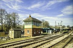 Approaching Horsted Keynes (Elaine 55.) Tags: thebluebellrailway signalbox tracks station semiphoresignals