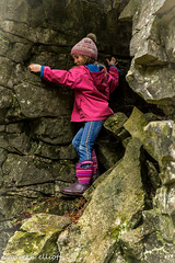 Rock Climber in Pink (maureen.elliott) Tags: climber rockface hiking child nature outdoors brucetrail niagaraescarpment