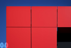 Geometry in red, blue, black and gray (occhio-x-occhio) Tags: abstract watermark sky black blue gray red morning web city street oxo rome new smooth plastic pinterest g facade fb flickr