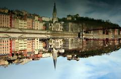 Lyon old district (Croix-roussien) Tags: bridge reflection art church river lyon upsidedown saone potd:country=fr