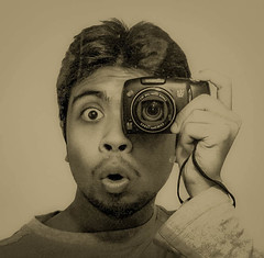 Creation of GOD and Human (Supratim Ghatak) Tags: camera selfportrait eye cam awe retina selfie astonished aback supratim canonpowershotsx110is