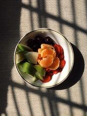 Breakfast (d-anise) Tags: tangerine breakfast strawberries grapes pear fruitsalad goodmorning