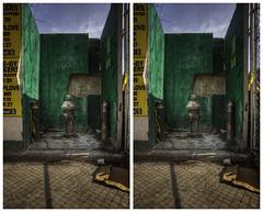 Hydrant in Green (-ytf-) Tags: nyc newyorkcity brooklyn 3d stereo williamsburg crossview ytf ytfnyc