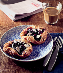 breakfast - berry danish pastries (ErinaMak) Tags: coffee breakfast wooden berries blackberry sweet almond plate blueberry danish pastry cutlery tabletop foodphotography foodstyling fujixpro1 xf35mmf14r