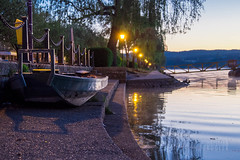 Boat On Pier (shirou@visualrupture) Tags: sun water night river relax landscape dawn mirror boat quiet shine dry olympus calm luxembourg shining omd mosel moselle em10 musel