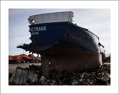 At the shipbreaking yard (Christa (ch-cnb)) Tags: industry norway boat norge ship decay olympus peninsula srtrndelag zuiko swd e5 shipbreaking trndelag fosen fourthirds revsnes zd1260mm fosengjenvinning arctictrans