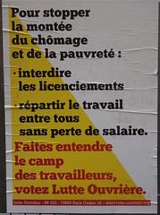 Pour stopper la monte du chmage et de la pauvret (emmanuelsaussieraffiches) Tags: poster political politique affiche lutteouvrire
