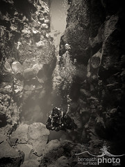 Silfra Diver Black and White (Beneath the Surface - Jessi) Tags: water iceland nationalpark europe underwater scubadiving geology scandinavia thingvellir ingvellir fissure freshwater coldwater geologicalformations silfra jgarur