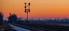 Miller City Sunrise (benpsut) Tags: railroad winter ohio sunrise twilight unitedstates continental trains nkp emptyrails nkpsignal notrainneeded