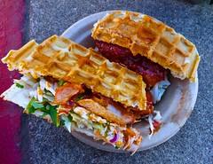 Korean fried chicken waffle sandwich from Bok Ssam in San Francisco (Fuzzy Traveler) Tags: sanfrancisco spicy friedchicken waffle coleslaw koren offthegrid bokssam
