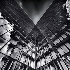 looking up ~ BnF ~ Temple of Knowledge (fifich@t / Franise / off) Tags: sky bw paris france reflection building architecture modern clouds cityscape library nb lookingup squareformat bnf modernarchitecture fineartphotography contreplonge sep2 lovegeometry templeofknowledge lowangleshot parisinblackandwhite formatcarr niksoftware nikond300 nikkor1685vr blackisthecolour fifichat1 frs fificht grandbibliothquefranoismitterand frs