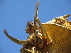 Civil War Statue General Sherman on Horseback with Angel 1353 (Brechtbug) Tags: street plaza new york city nyc roof cactus building green art yellow statue architecture angel bronze gold hotel leaf wings construction hands war pin afternoon shadows general near top flag fingers profile civil american underneath needles avenue 5th cushion sherman 59th the 06152014