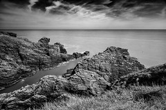 Arbroath Cliffs (Damon Finlay) Tags: longexposure sea blackandwhite bw white seascape black monochrome beauty canon landscape coast scotland long exposure natural 10 cliffs stop filter naturalbeauty arbroath efs 1022mm efs1022mm 60d nd110 canon60d bwnd11010stopfilter