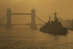 A distant ship, smoke on the horizon (Explore!!!) (Tower Bridge, London, England) (AndreaPucci) Tags: uk london fog towerbridge explore hmsbelfast comfortablynumb canonef24105mmf4lis canoneos60 andreapucci